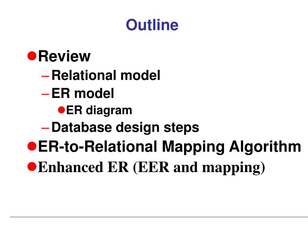 hight resolution of outline review relational model er model er diagram database design steps er to relational mapping algorithm enhanced er eer and mapping