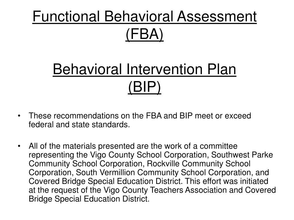 Functional Behavior Assessment And Behavior Intervention