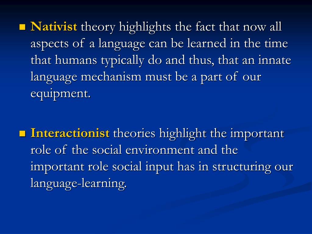 nativist theory of language
