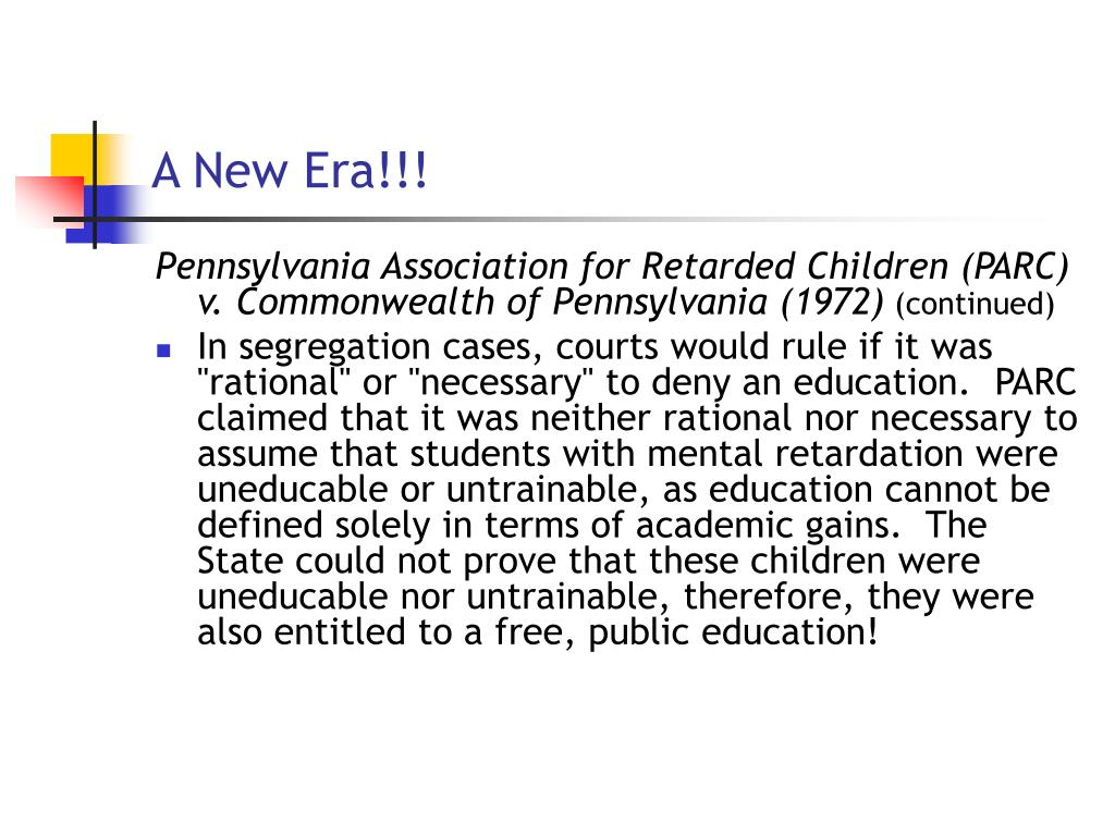 Pennsylvania Association For Retarded Children V