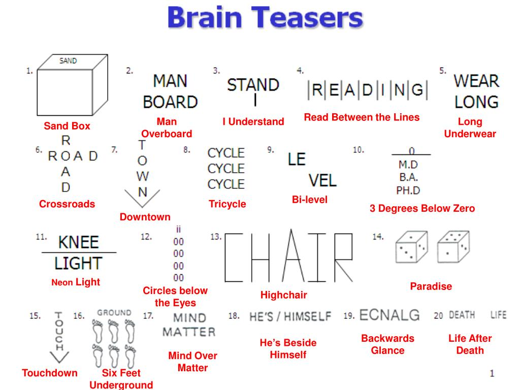Puzzles Brain Teasers Worksheet