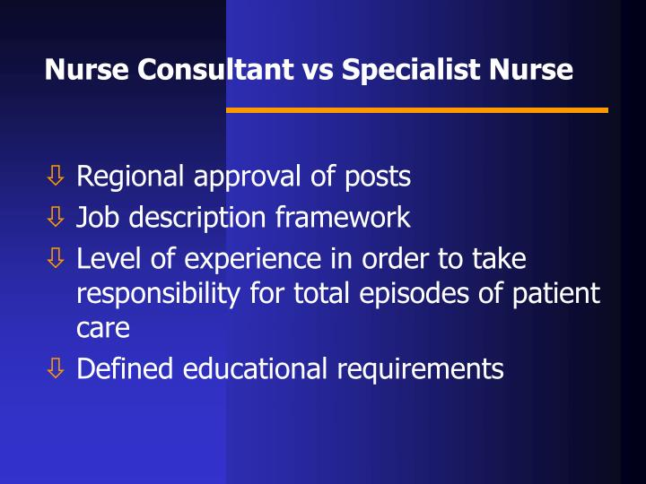 PPT  THE ROLE OF THE NURSE CONSULTANT PowerPoint
