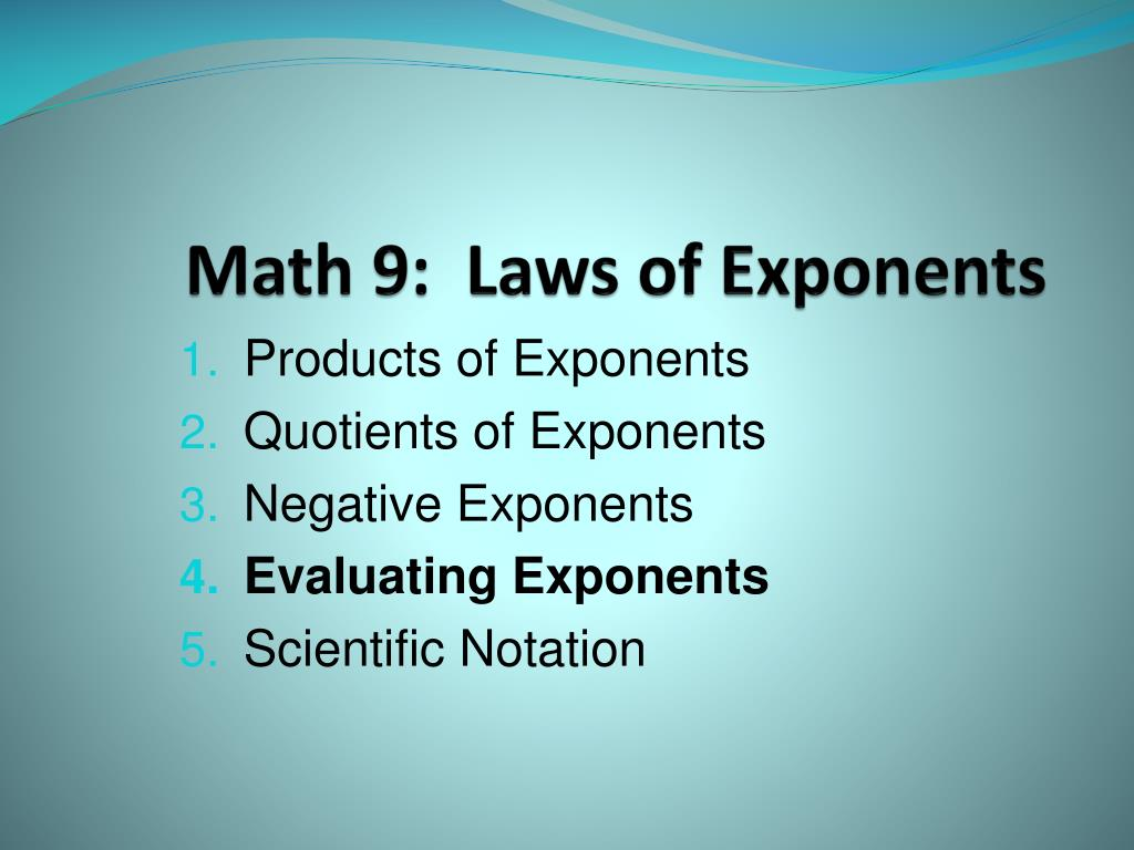 hight resolution of PPT - Math 9: Laws of Exponents PowerPoint Presentation