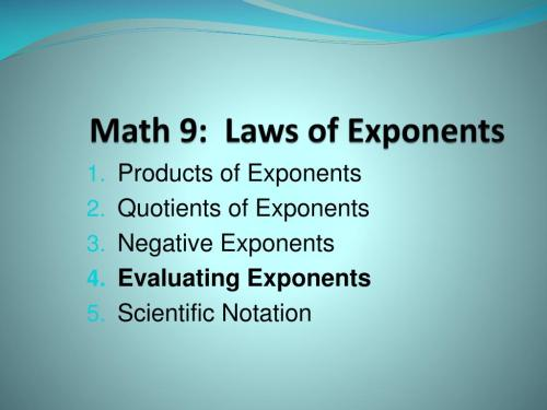 small resolution of PPT - Math 9: Laws of Exponents PowerPoint Presentation