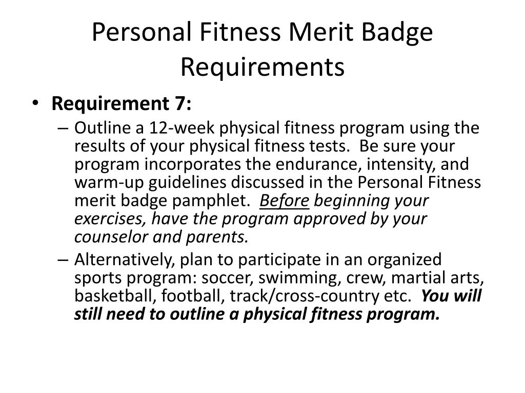 Physical Fitness New Physical Fitness Merit Badge Log