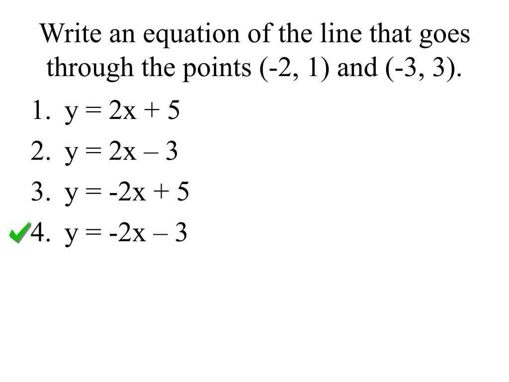 Worksheet On Writing Linear Equations Given Two Points
