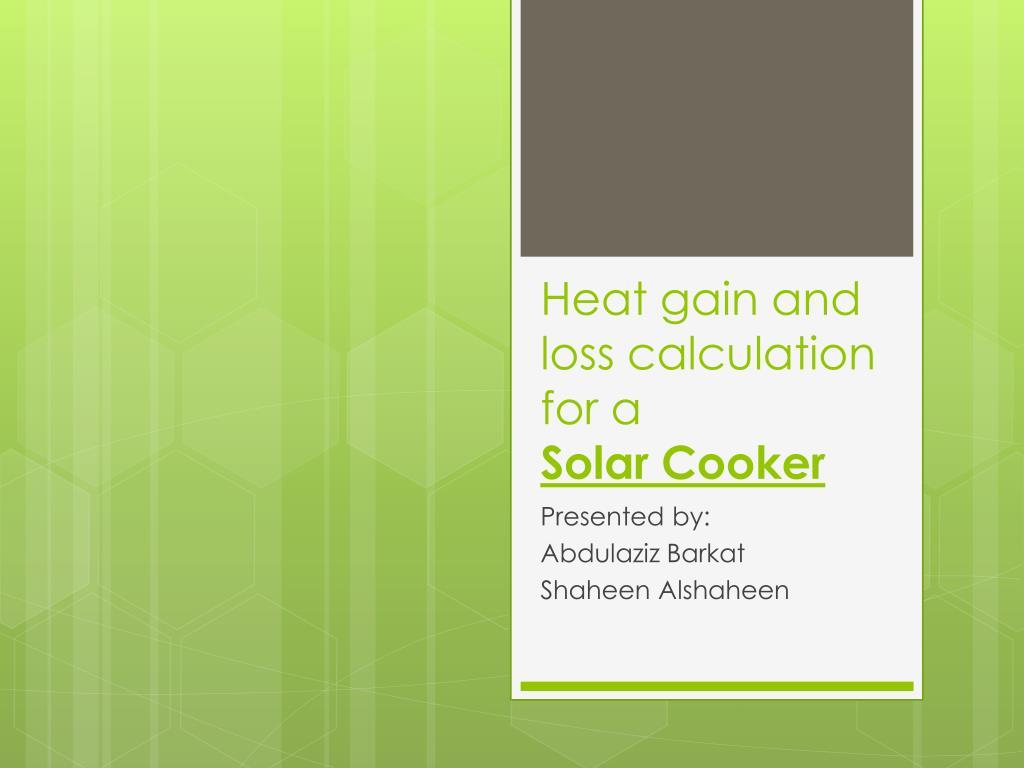 Heat Loss Heat Gain Worksheet