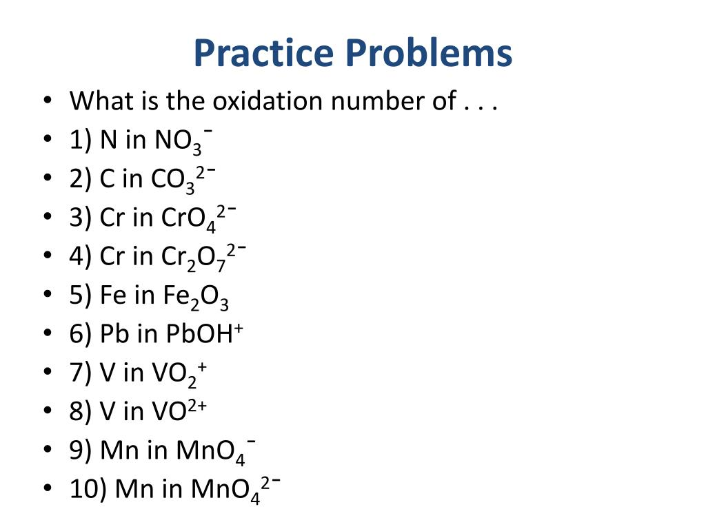 Fun Practice And Test Practice Oxidation Numbers