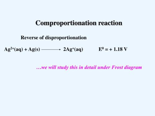 small resolution of  v comproportionation reaction reverse of disproportionation we will study this in detail under frost diagram