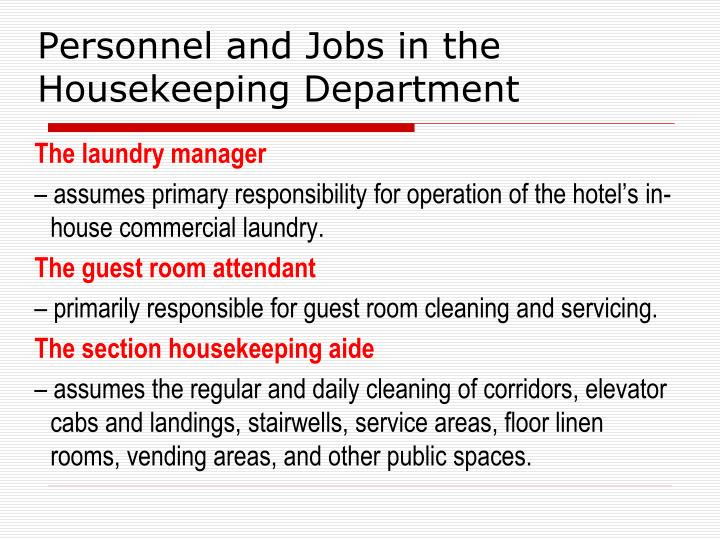PPT  HOTEL HOUSEKEEPING PowerPoint Presentation  ID985521