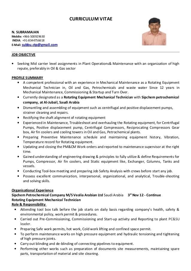 resume examples mechanical technician