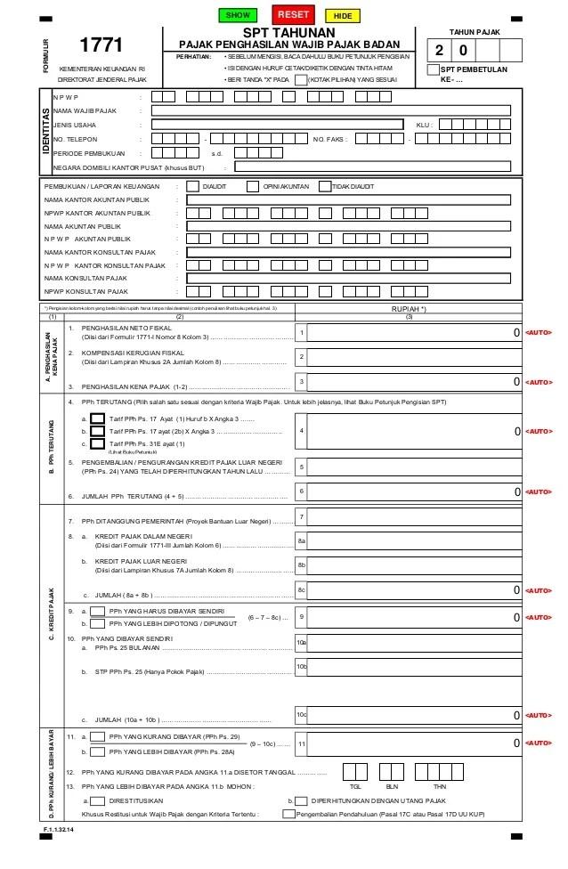 Formulir Spt Tahunan 1771 Excel Dengan Rumus Contoh Pajak Cute766