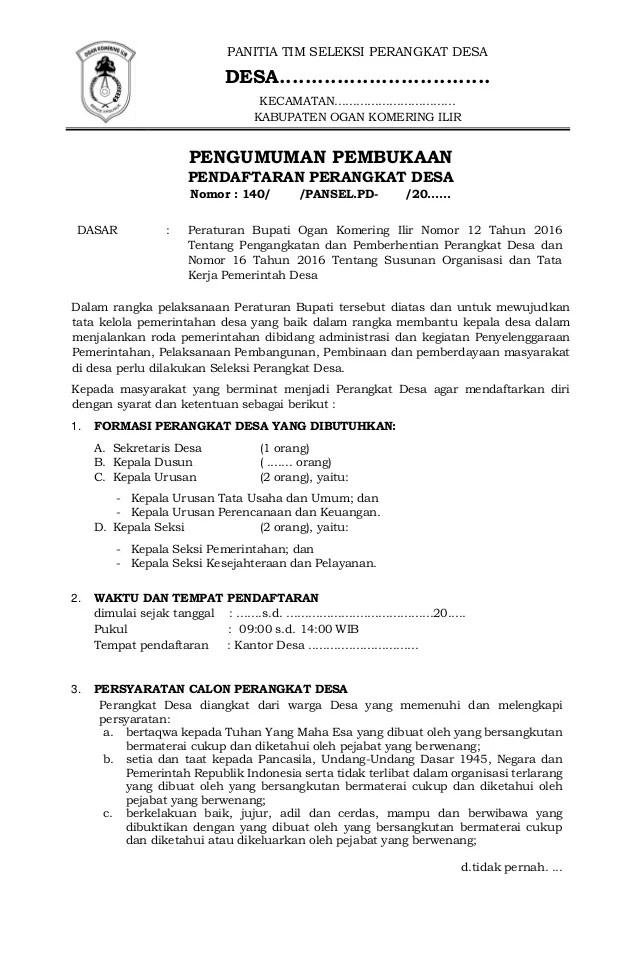 Contoh Surat Pengunduran Diri Sebagai Perangkat Desa Cute766