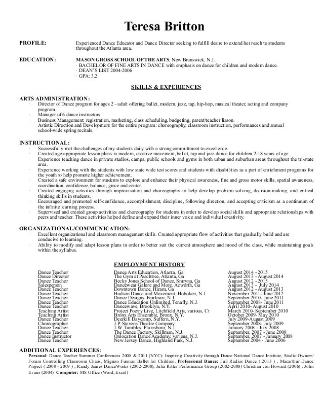 Dance Teacher Resume Short Version No Add