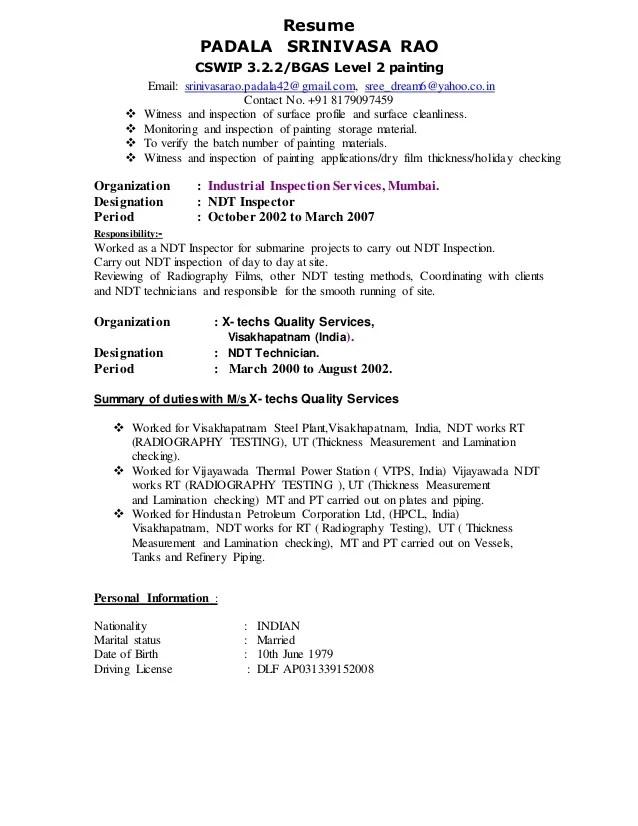 Resume Of Senior Welding Inspector | Templates Cv Microsoft