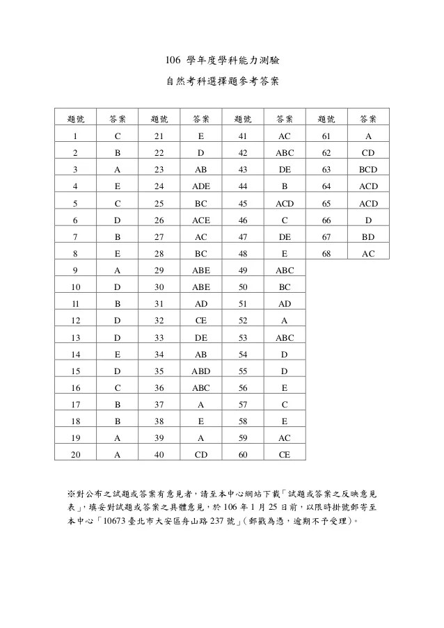 106學測自然參考答案