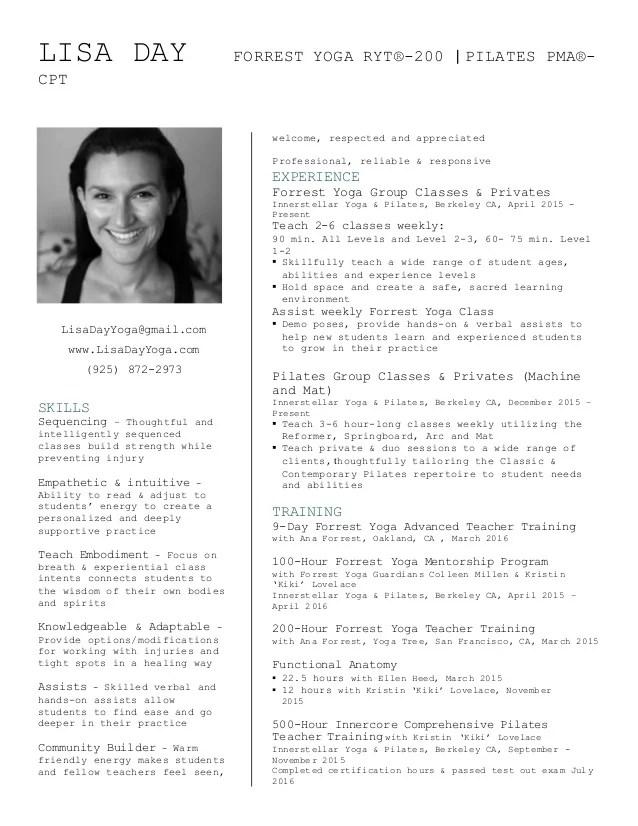 Lisa Day Yoga Resume