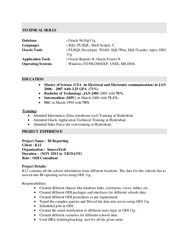 oracle forms and reports sample resume