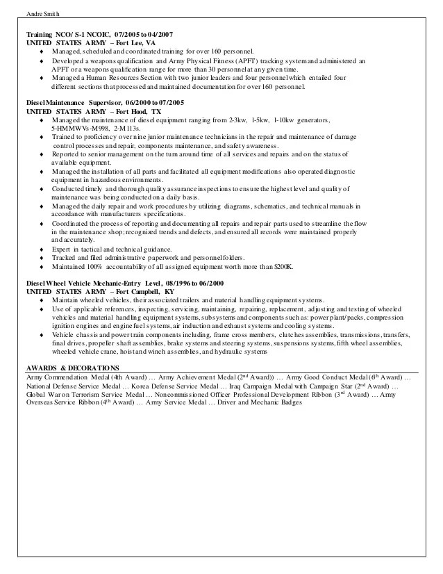 Andre Smith S Federal Resume
