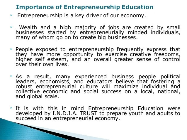 Importance Of Entrepreneurship Education