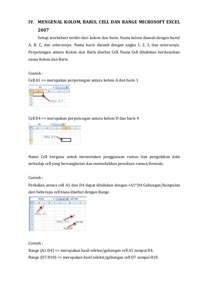 Pengertian Row, Column, Cell dan Range di Excel | Excel Pemula