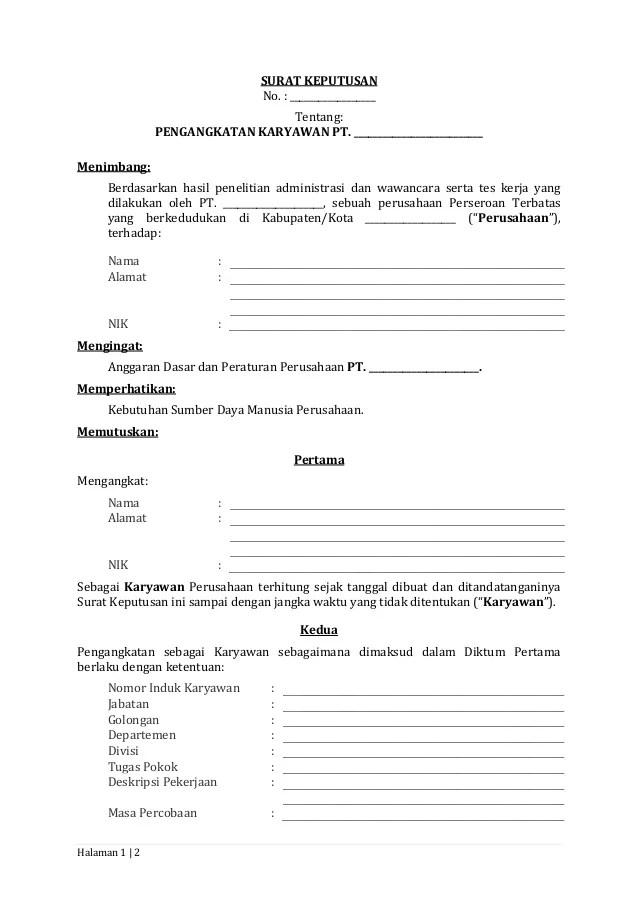 Contoh Surat Keputusan Perusahaan : contoh, surat, keputusan, perusahaan, Surat, Keputusan, Pengangkatan, Karyawan, Tetap