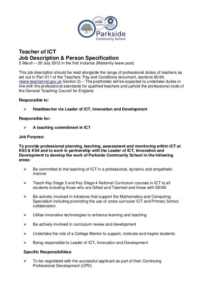 Job Description And Person Specification