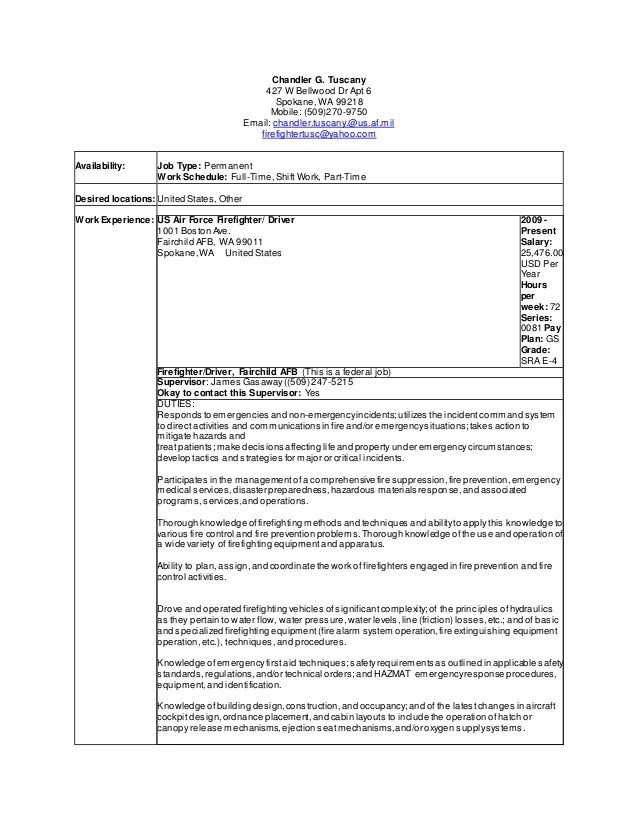 Resume Builder For Firefighters