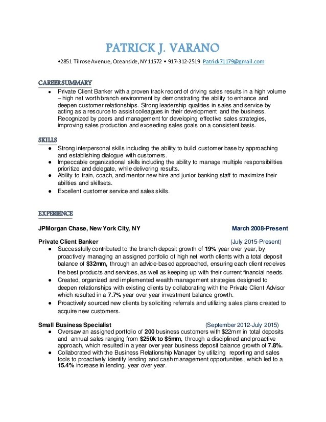 sample resume of private client banker