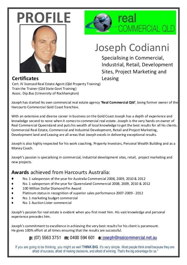Joseph Codianni Profile Real Commercial 2015
