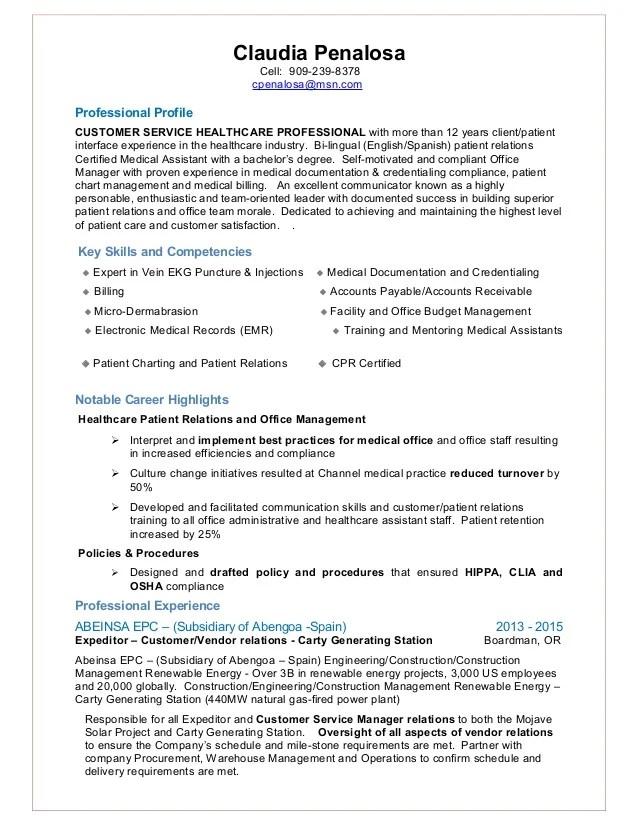 Claurdia Penalosa Resume Customer Service Patient