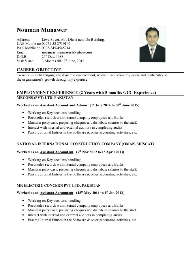 account assistant cv