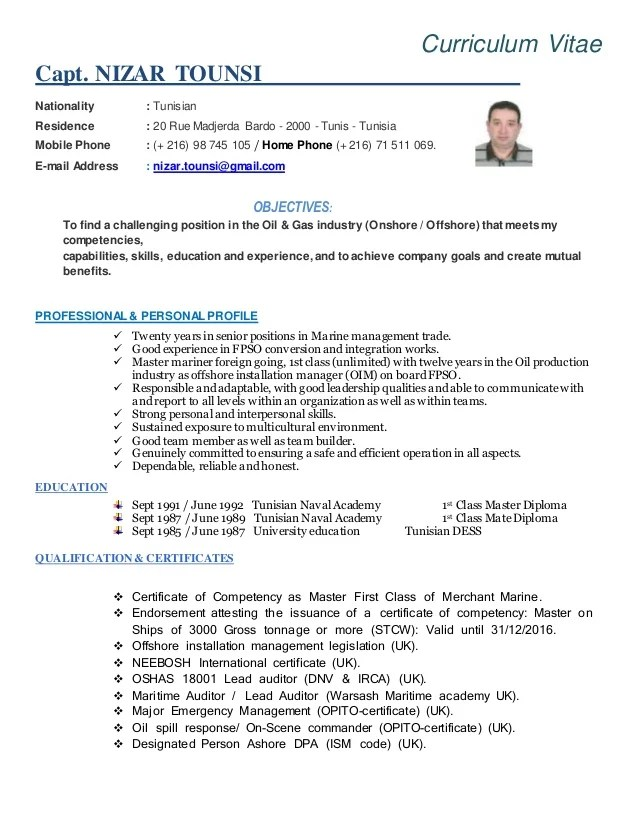 cv project manager officer