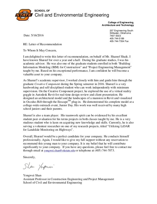 Shareef Recommendation Letter