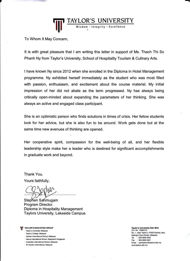 university letter of recommendation