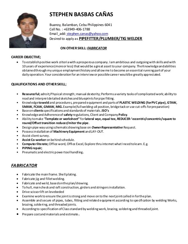Stephen Canas CV Pipefitter