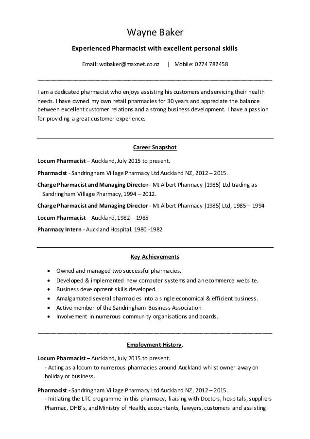 Wayne Baker CV Retail Pharmacist