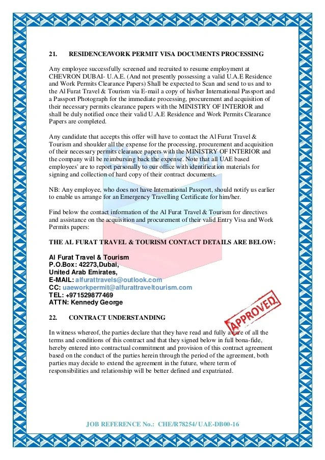 CHEVRON CONTRACT APPOINTMENT LETTER