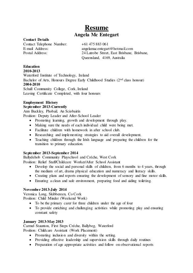 sample daycare provider resume