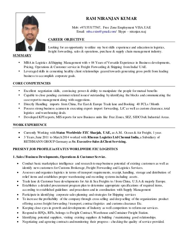 Mba Logistics Resume   Resume And Cover Letter Examples Human