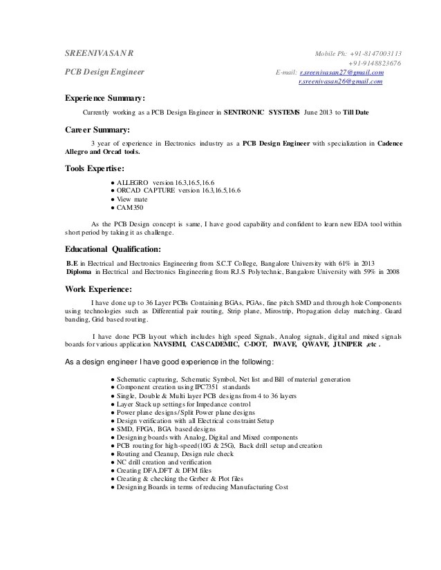 pcb designer resume sample