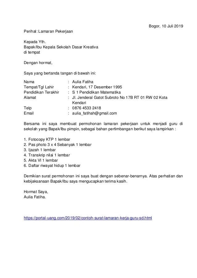 Contoh Surat Lamaran Kerja Umum Bahasa Indonesia