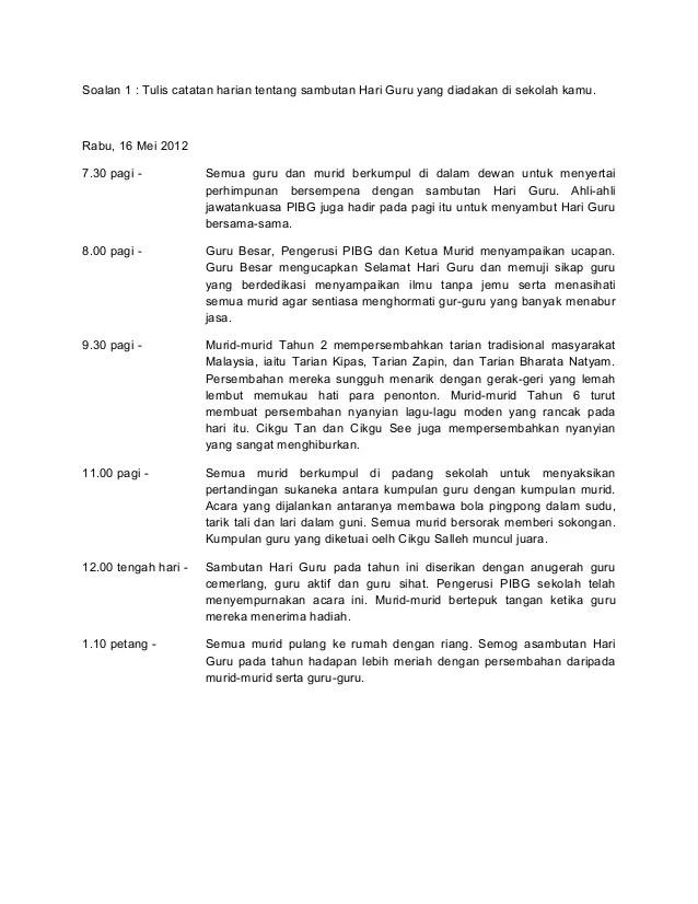 Contoh Karangan Laporan Sambutan Hari Guru Spm Contoh Now Cute766
