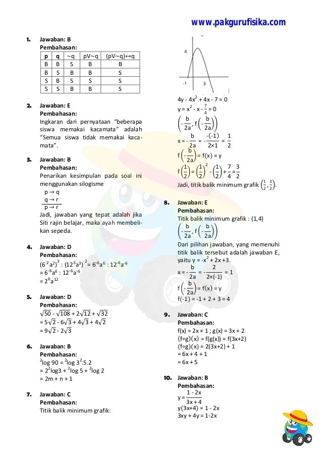 Prediksi Un 2018 : prediksi, Pembahasan, Matematika, Cute766