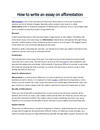 Concerning also the financial aspects of afforestation percival trentham you contact a reliable and. How To Write Essay On Afforestation