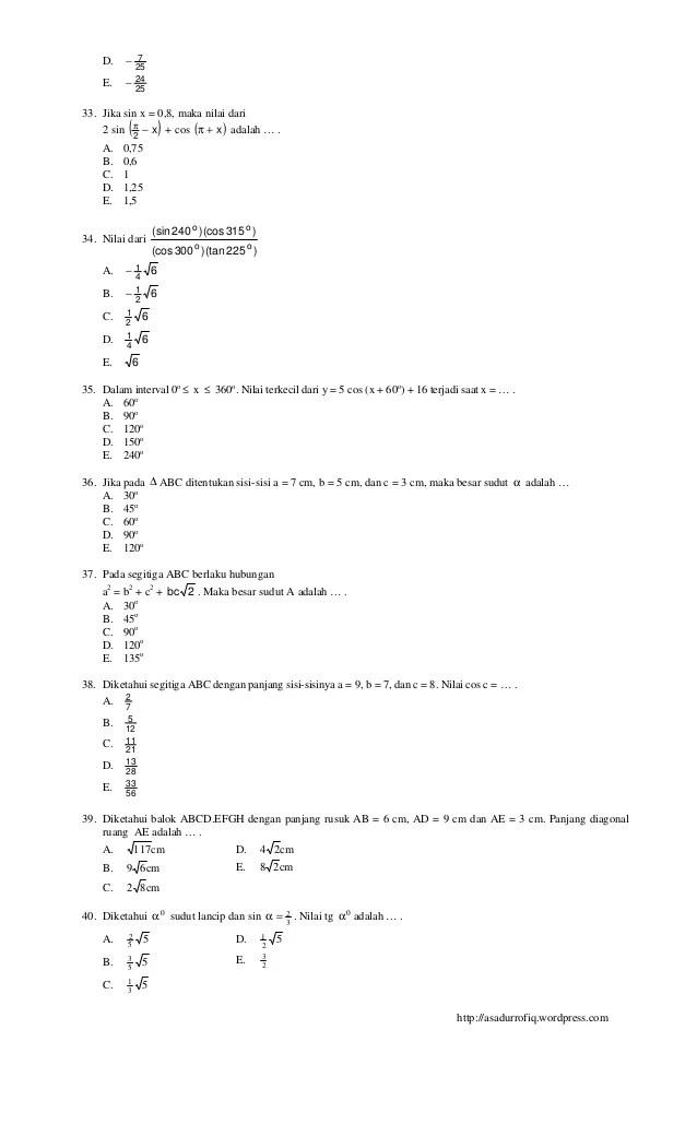 Soal Matematika Wajib Kelas 10 Semester 2 Dan Jawabannya 2020 : matematika, wajib, kelas, semester, jawabannya, Contoh, Matematika, Wajib, Kelas, Semester, Jawabannya, LatihSiswa