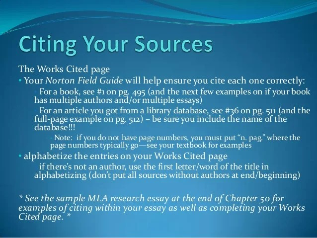 Research Paper Citing Your Sources
