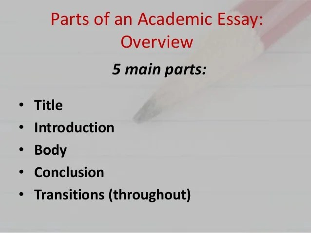 ENG 101 Parts Of An Essay