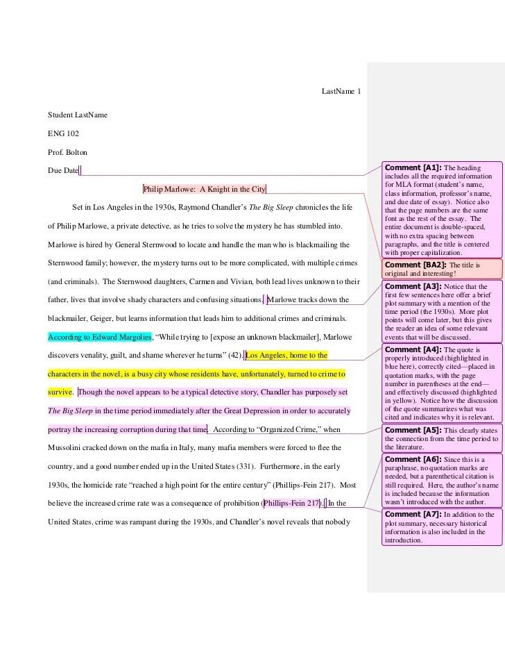 102 Sample Essay Historical Studies Big Sleep