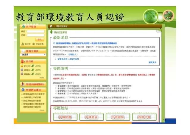 環境教育人員認證說明簡報1051202